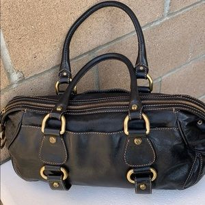 Francesco Biasia black gold satchel handbag